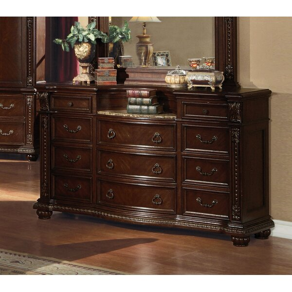 Ralls Marble Top 9 Drawer Dresser by Astoria Grand
