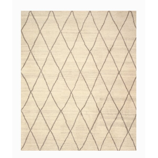 Longowal Hand-Knotted Beige Area Rug by Meridian Rugmakers