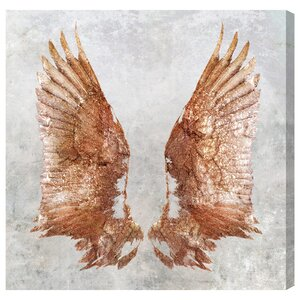 'Rose Gold Wings' Graphic Art Print on Canvas by House of Hampton