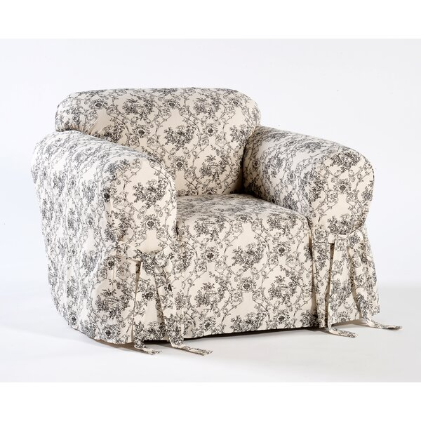 Toile Print One Piece Box Cushion Armchair Slipcover by Ophelia & Co.