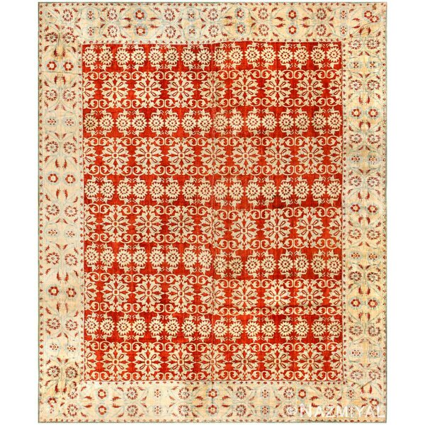 One-of-a-Kind Hand-Knotted Before 1900 Mughal Red 6'4 x 7'10 Velvet Area Rug
