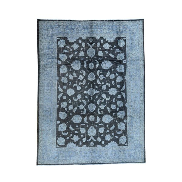 One-of-a-Kind Foerster Overdyed Peshawar Oriental Hand-Knotted Black Area Rug by World Menagerie