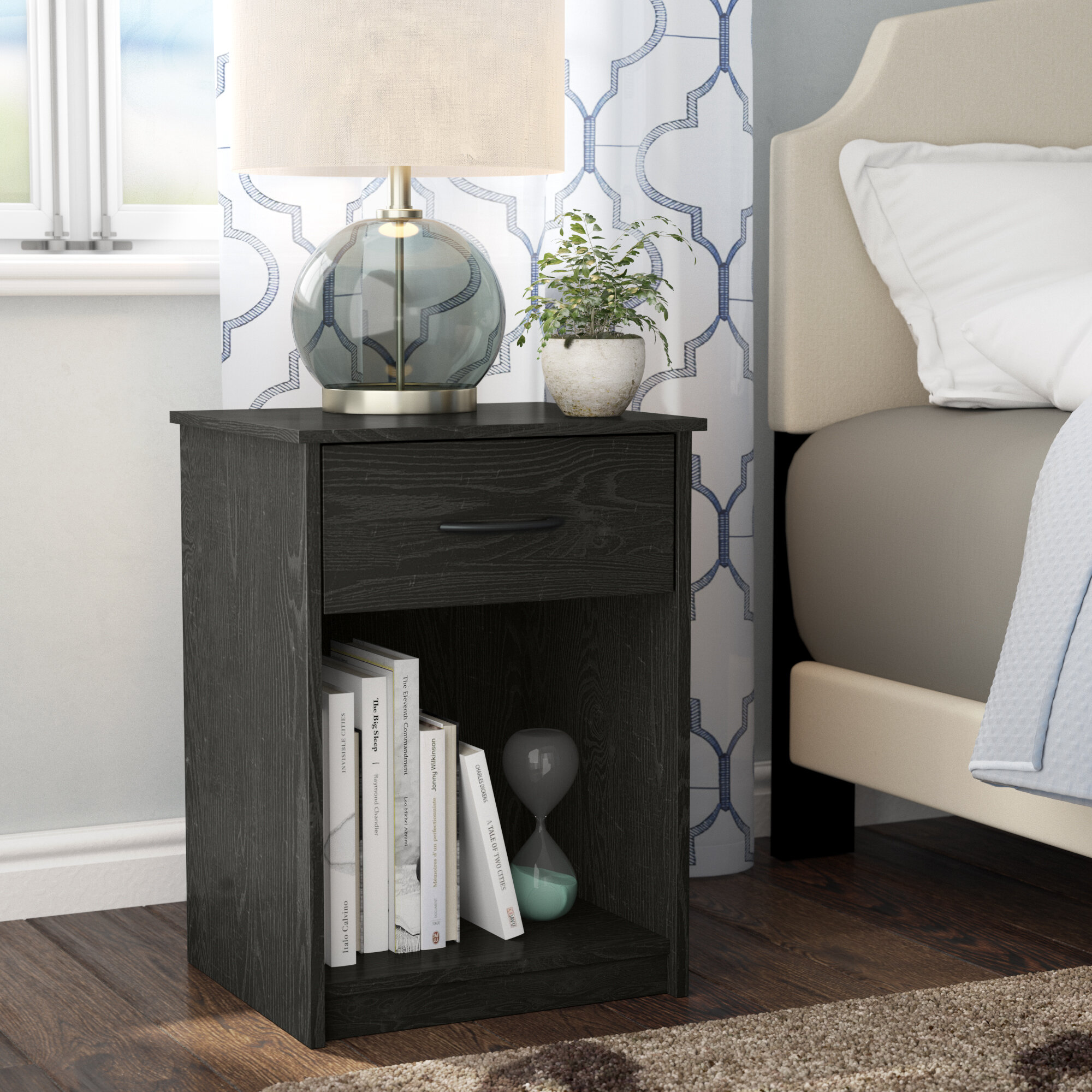 Patio Coffee Bistro Table Vintage Industrial Farmhouse Night Stand Bedroom Household Pub Table Black End Tables for Living Room,Lanyun Indoor Outdoor Small Metal Square Sidetable