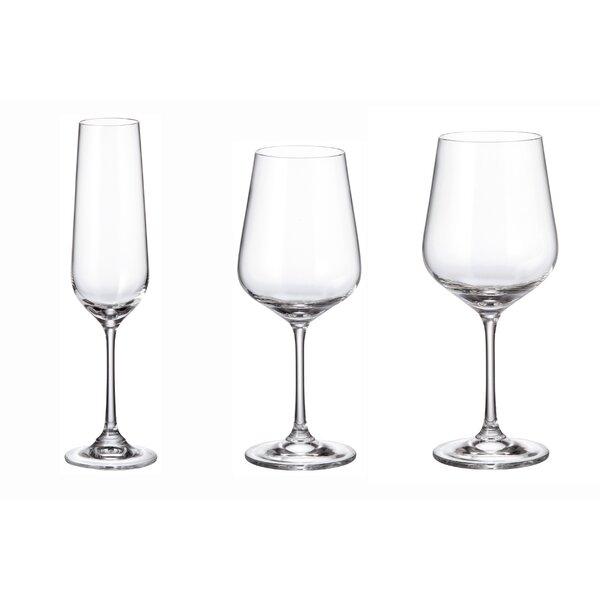 Strix Trio Glass 18-Piece Assorted Stemware Glass Set by Red Vanilla