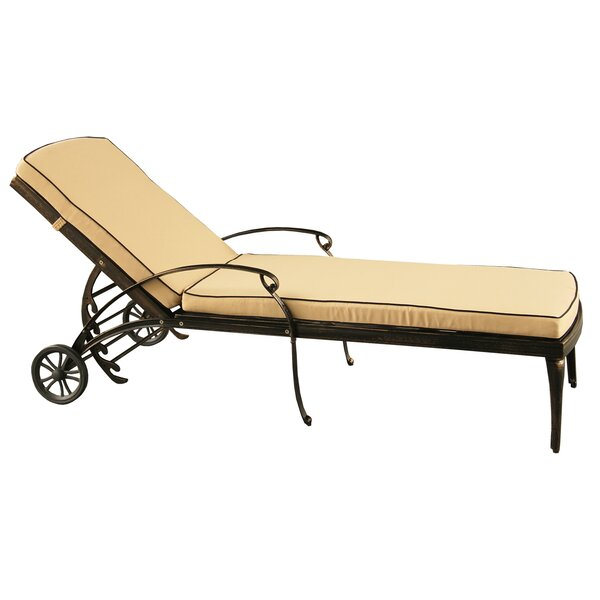 Cashin Mesh Lattice Outdoor Reclining Chaise Lounge with Cushion by Fleur De Lis Living