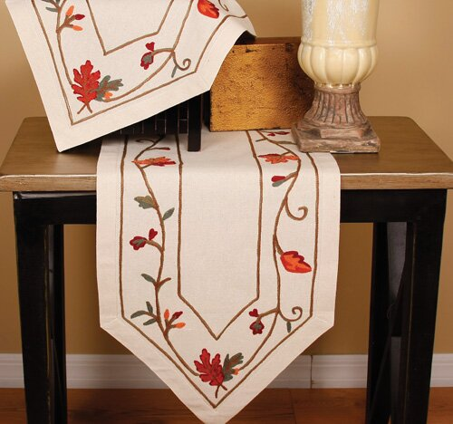 Harvest Vine Crewel Embroidered Table Runner by Xia Home Fashions