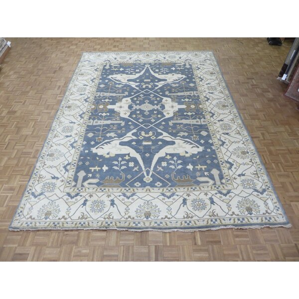 One-of-a-Kind Pellegrino Oushak Hand-Knotted Denim Blue Area Rug by Bloomsbury Market