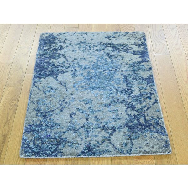 One-of-a-Kind Brightling Abstract Design Handwoven Wool/Silk Area Rug by Isabelline