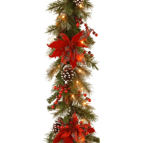 6 Foot Decorative Pre-Lit Tartan Plaid Faux Garland by Andover Mills