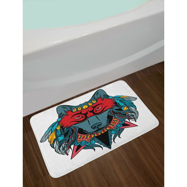 Ethnic Teal White and Red Tribal Bath Rug by East Urban Home