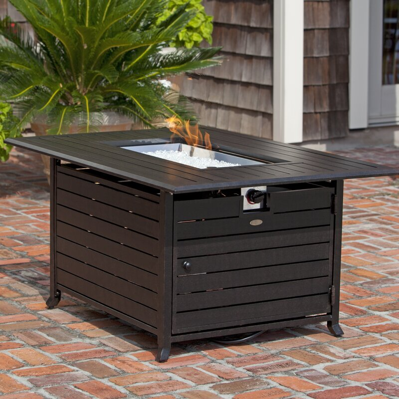 fire sense aluminum propane fire pit table & reviews   wayfair