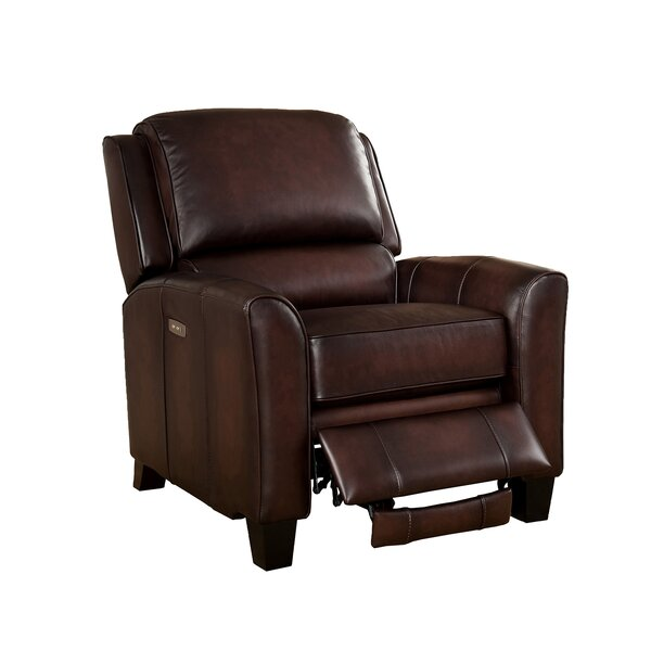 Yale Leather Power Recliner with USB Port by Amax