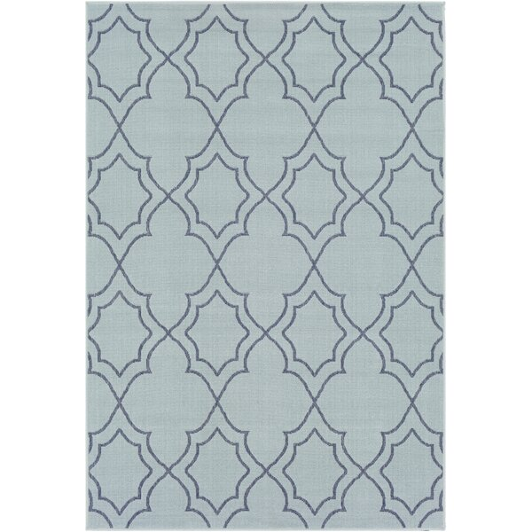 Gilead Trellis Aqua/Charcoal Indoor/Outdoor Area Rug by Alcott Hill