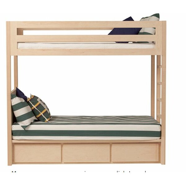 Kadon Twin over Twin Bunk Bed with Storage in Walnut Wood Veneer by Orren Ellis