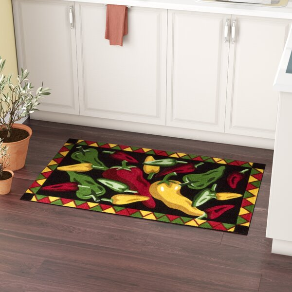 Greenmeadow Black Chili Peppers Area Rug by Andover Mills