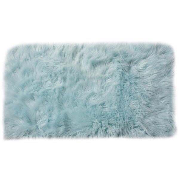 Charlotte Hand-Woven Faux Sheepskin Light Blue Area Rug by House of Hampton