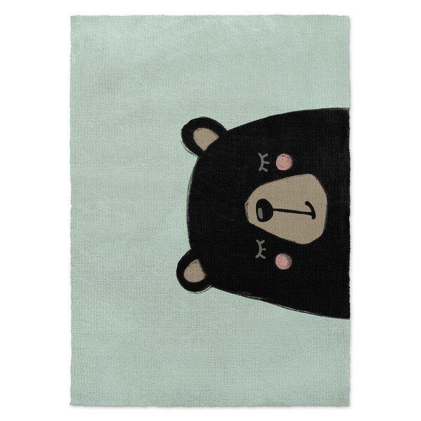 Allwood Bear Black/Green Area Rug by Harriet Bee