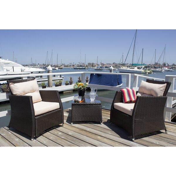 Devon 3 Piece Rattan Conversation Set with Cushions by Breakwater Bay
