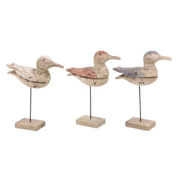 Goddard Coastal Inspired Stitched Birds Figurine (Set of 3) by Rosecliff Heights