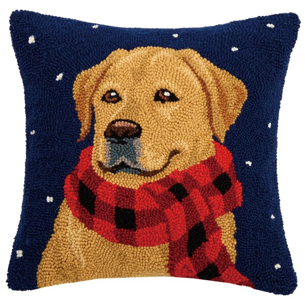 Forsythe Golden Lab with Scarf Hook Wool Throw Pillow by The Holiday Aisle