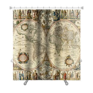 Old world shower curtain wayfair earth old paper world map premium shower curtain sciox Gallery