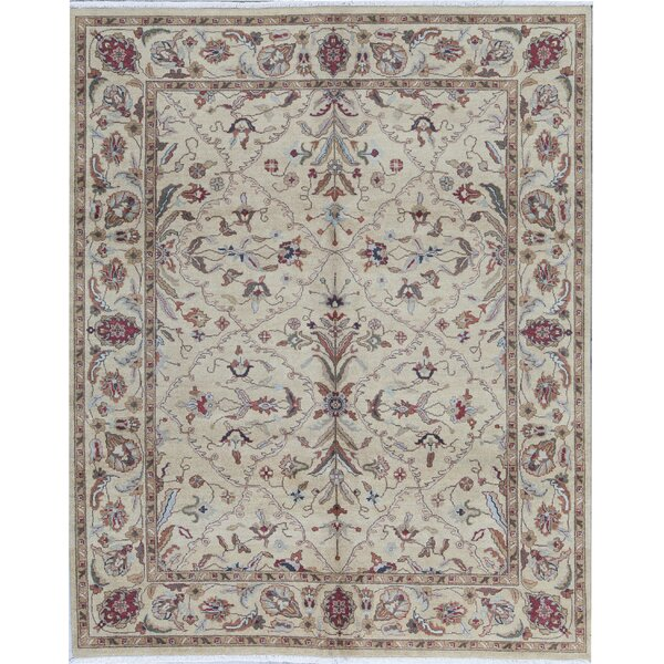 Amar Oriental Hand-Knotted 8' x 9.9' Wool Light Green Area Rug