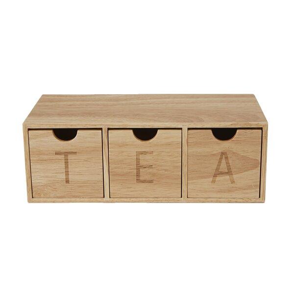 3 Compartment Wood Tea Box Organizer by Mind Reader