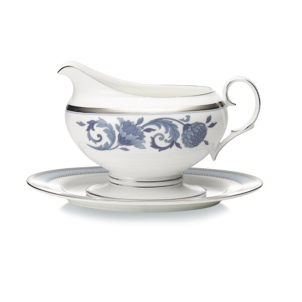 Sonnet Blue 16 oz. Gravy Boat with Tray by Noritake