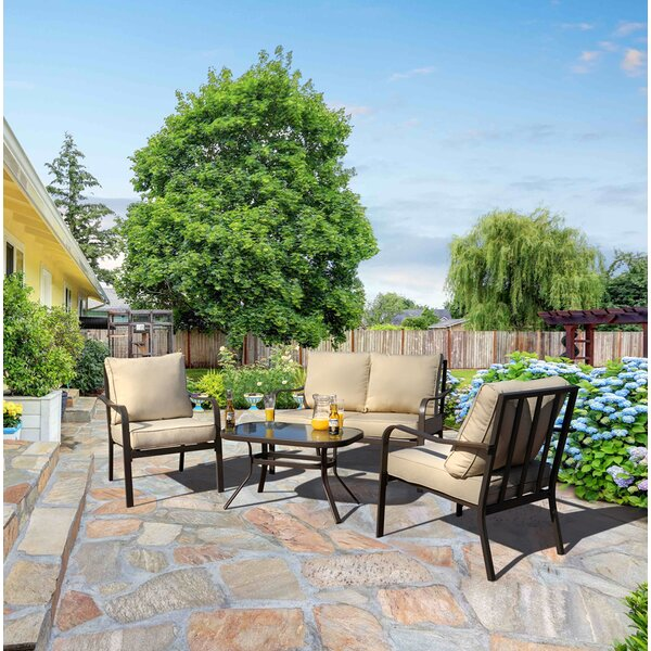 Jarry 4 Piece Outdoor Conversation Set with Cushions by Ebern Designs