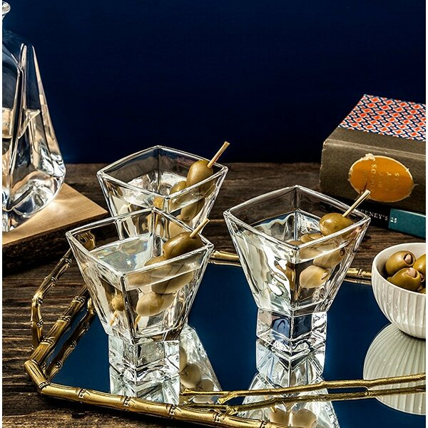 Carre Square Martini Glass 8 oz. Cocktail Glass (Set of 2) by JoyJolt
