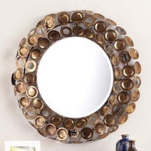 Latitude Run Round Galvanized Burnished Gold and Copper Decorative Wall Mirror