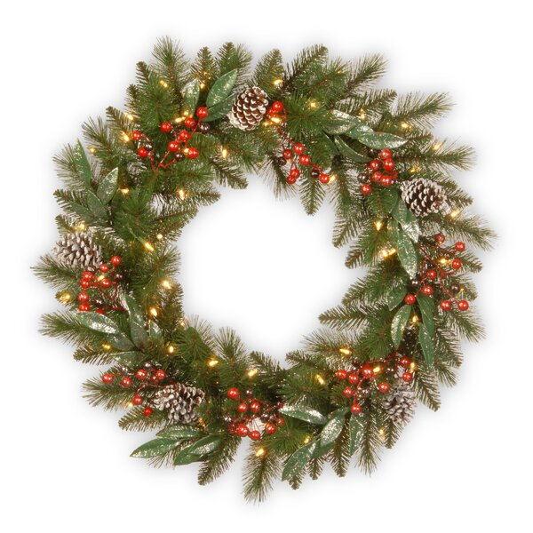 Lighted Pine Berry Wreath by The Holiday Aisle