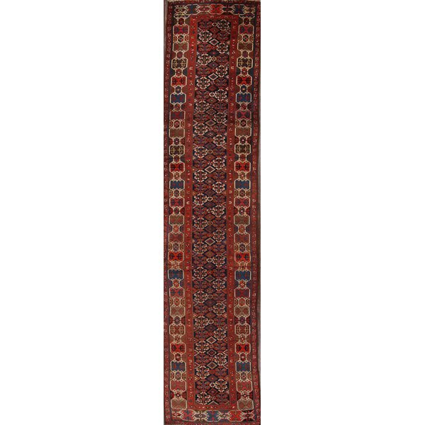 Wasserhund Kazak Antique Traditional Caucasian Russian Classical Oriental Hand-Knotted Wool Red/Black/Blue Area Rug by Bloomsbury Market