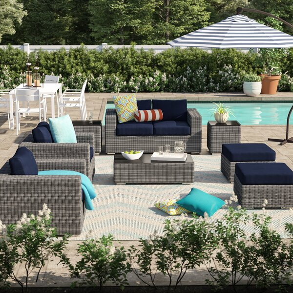 Alaia 8 Piece Rattan Sunbrella Sectional Seating Group with Cushions Brayden Studio BRSU4362