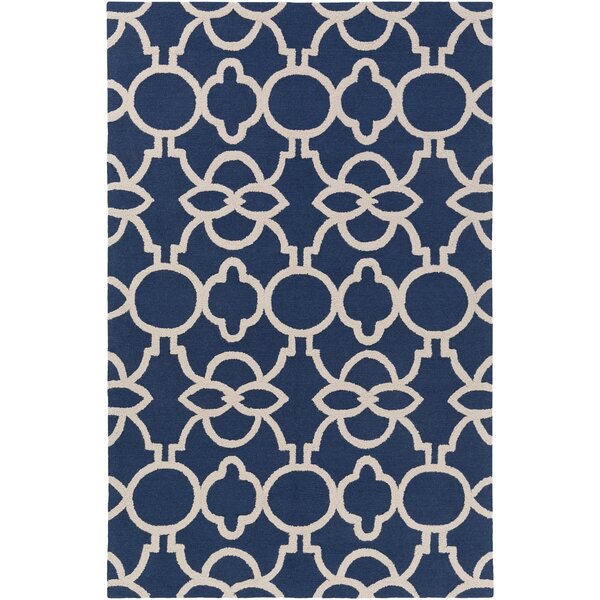 Sandi Hand-Crafted Navy Blue Area Rug by Mercer41