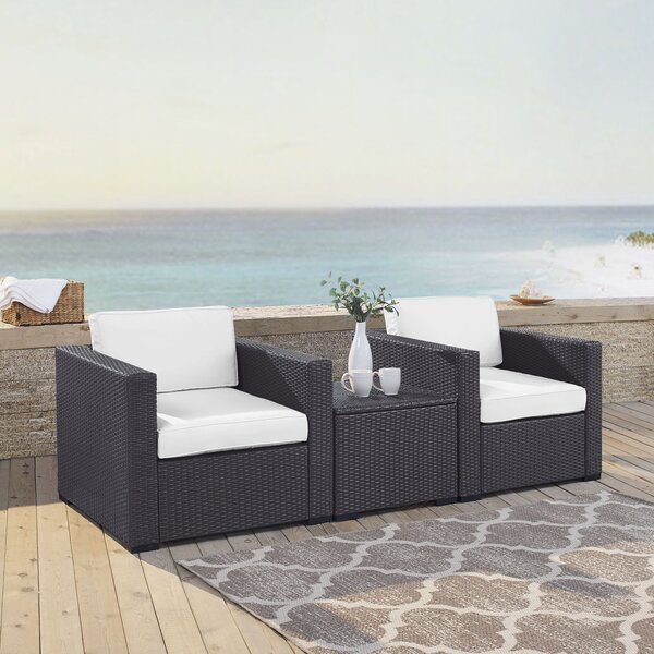 Dinah 3 Piece Conversation Set with Cushions by Highland Dunes