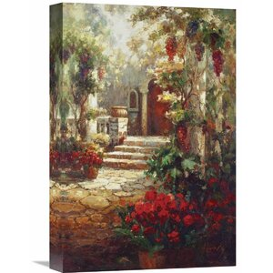 'Courtyard Romance' by Hong Painting Print on Wrapped Canvas by Global Gallery