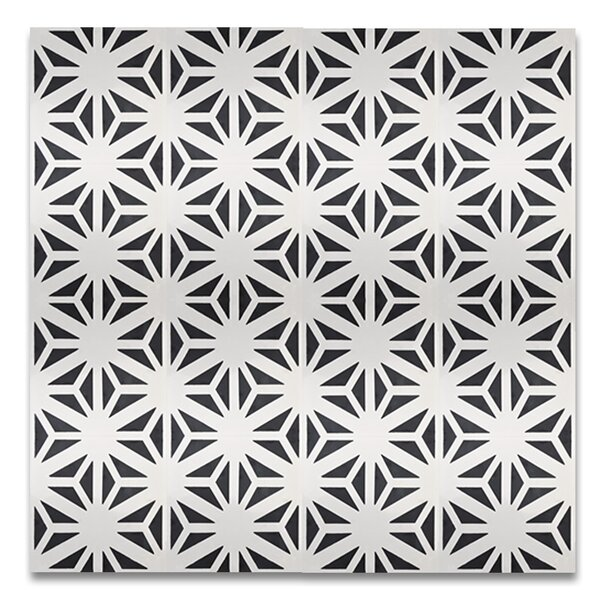 Melah 8 x 8 Handmade Cement Tile in Black and White by Moroccan Mosaic