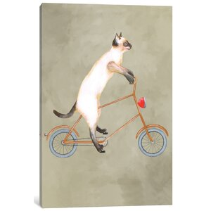 'Cat on Bicycle' Painting Print on Canvas by East Urban Home