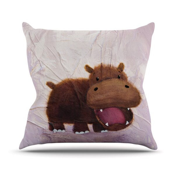 The Happy Hippo Outdoor Throw Pillow by KESS InHouse