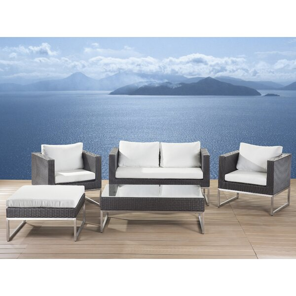 5 Piece Rattan Sofa Seating Group with Cushions by Home Etc