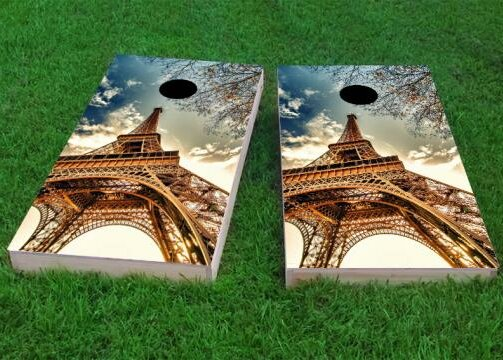 Eiffel Tower in Paris Cornhole Game (Set of 2) by Custom Cornhole Boards
