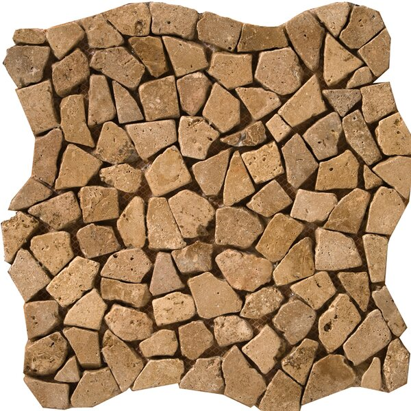 Travertine 12 x 12 Pebble Mosaic in Mocha by Emser Tile