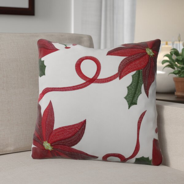 Bloomy Decorative Christmas Square Throw Pillow by The Holiday Aisle