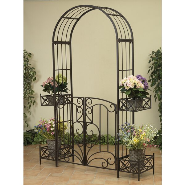 Garden Metal Arbor with Gates and Planters by Gerson International