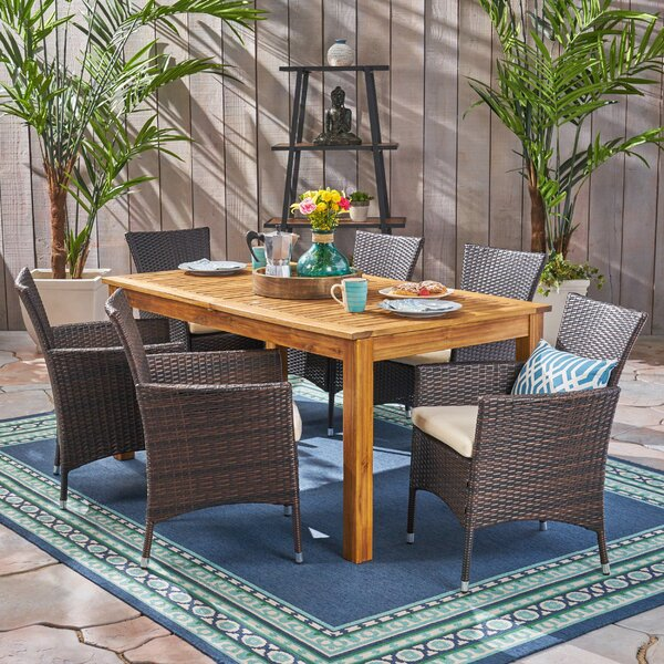 Dibble Outdoor Expandable 7 Piece Dining Set with Cushions