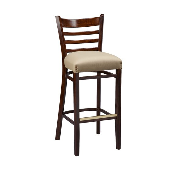 Amoroso Beechwood Ladder Back Fully Upholstered Seat Bar Stool by Red Barrel Studio