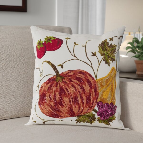 Kapitz Embroidered Pumpkin Harvest Design Thanksgiving Cotton Throw Pillow by August Grove