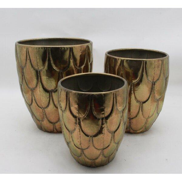 3 Piece Antique Gold Table Vase Set by Brayden Studio
