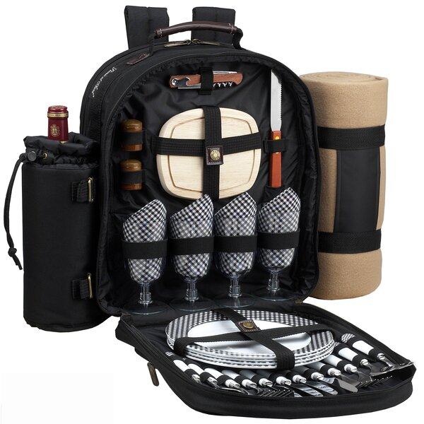 Classic Backpack Cooler with Blanket and Four Place Settings by Picnic at Ascot